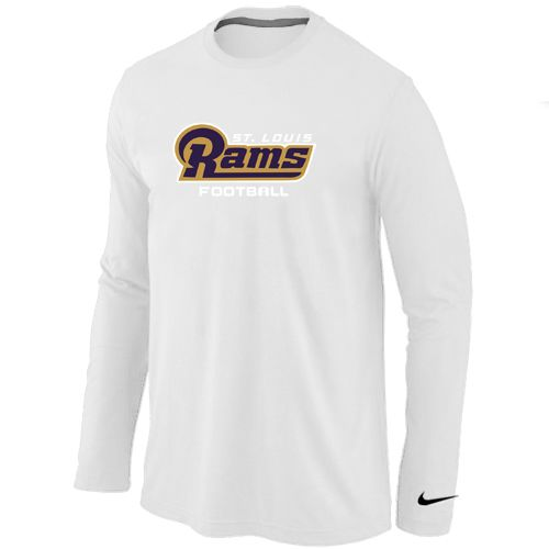 Discount Nike Los Angeles Rams Authentic Font Long Sleeve T Shirt White  for cheap